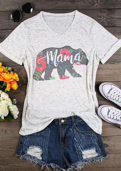 Mama Bear Floral V-Neck T-Shirt