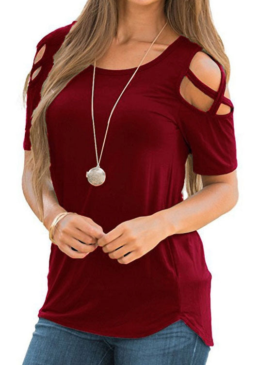 Solid Criss-Cross Cold Shoulder Blouse