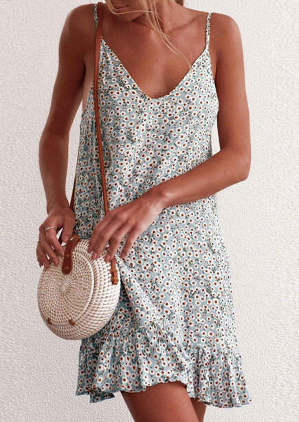 Floral Ruffled Spaghetti Strap Mini Dress - Cyan