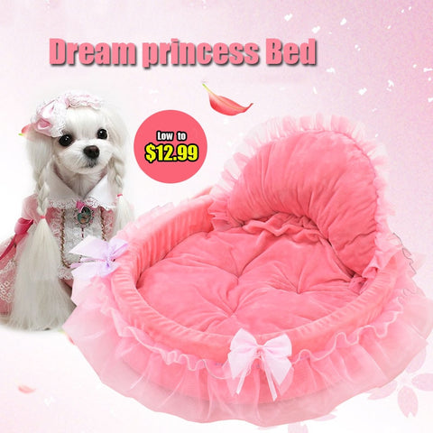 Lace Princess Dog Basket Bed Cat Puppy