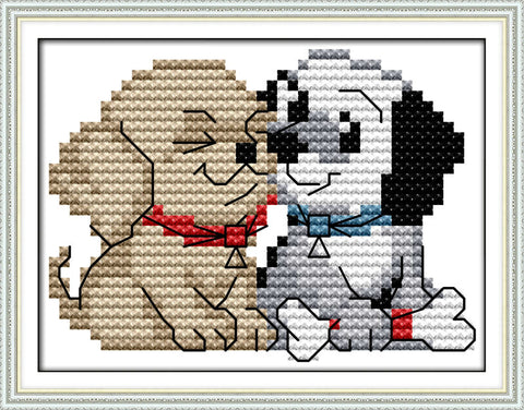 (2) dog Printed on Canvas Cross-stitch Embroidery Needlework