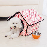 Pink or Blue Plaid Roof Pet House Beds For Small Dogs Cat Nest
