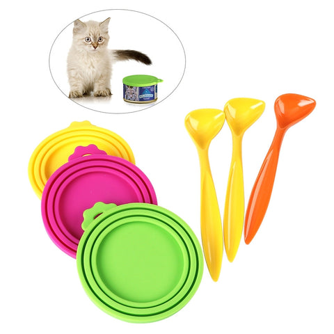 3pcs Silicone Food Can Covers Scoop Dog Cat Feeding Tin Food Kit