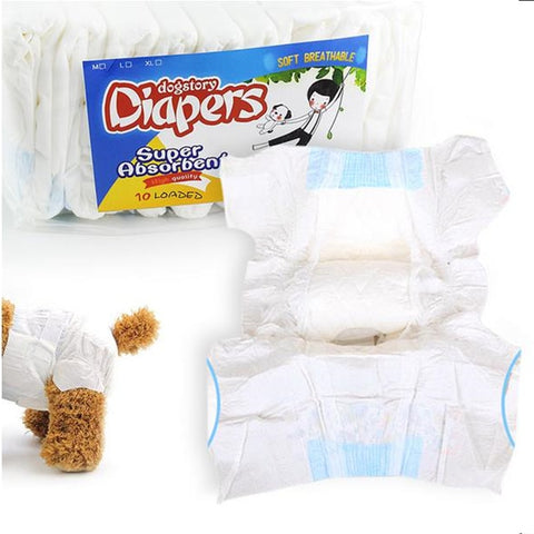 10pcs Super-absorbent Pet Diapers Dry and Breathable Dog Health