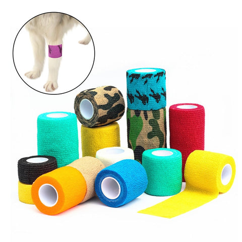 1 Roll Breathable Dog Cat Elastic Bandage Self-adhesive