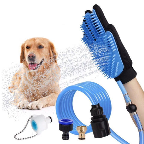 Shower brush five fingers with hose dog gloves spray bath massage brush
