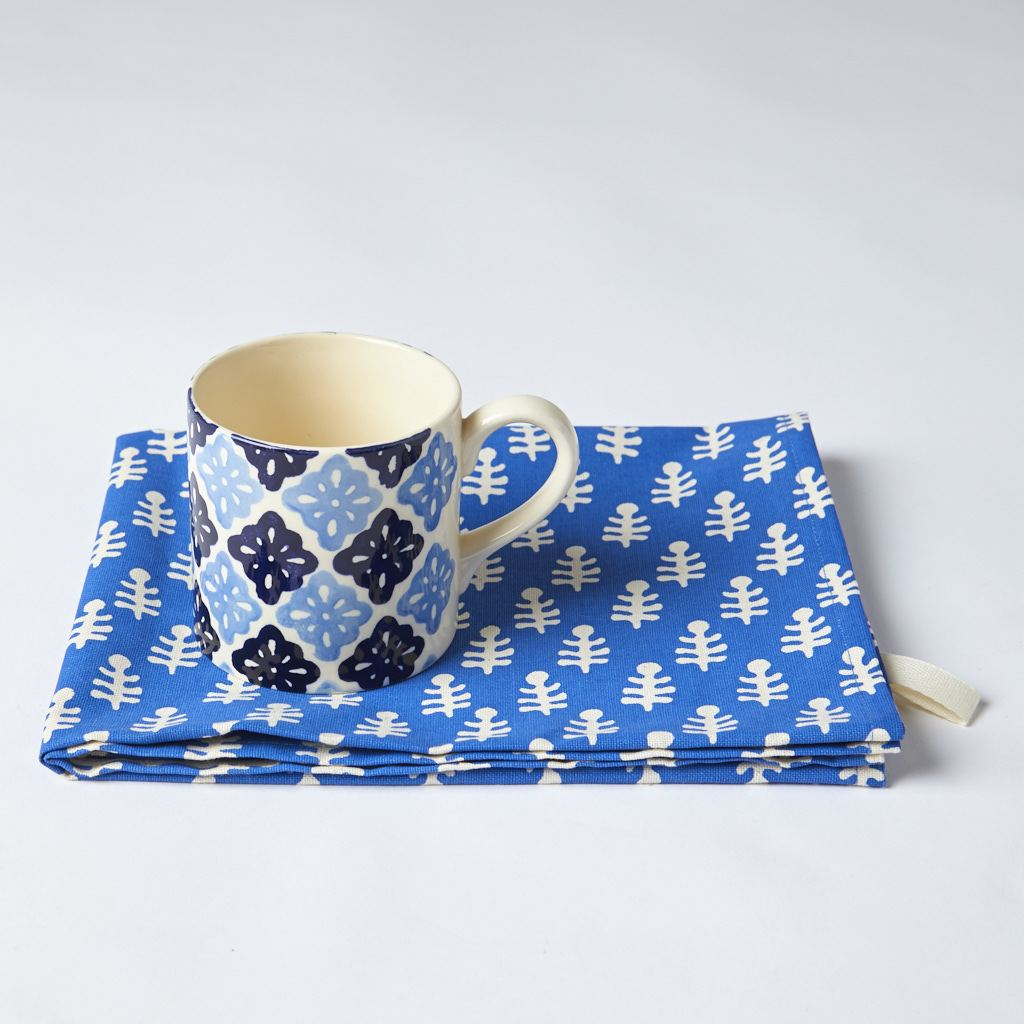 Mug + Tea Towel - Bagru - Pattee - Blue