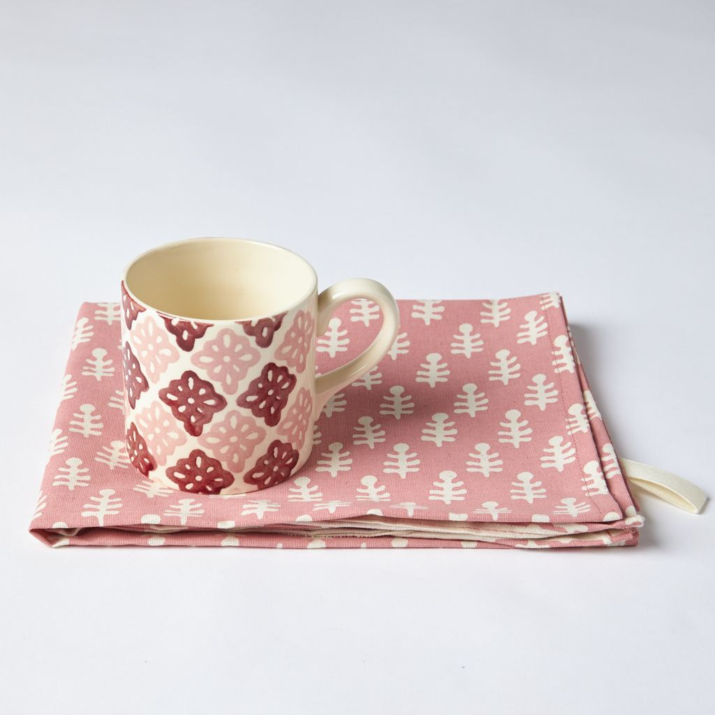 Mug + Tea Towel - Bagru - Pattee - Pink