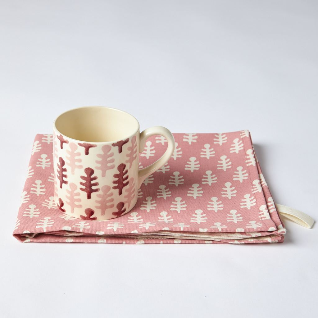 Mug and Tea Towel - Bagru - Pink