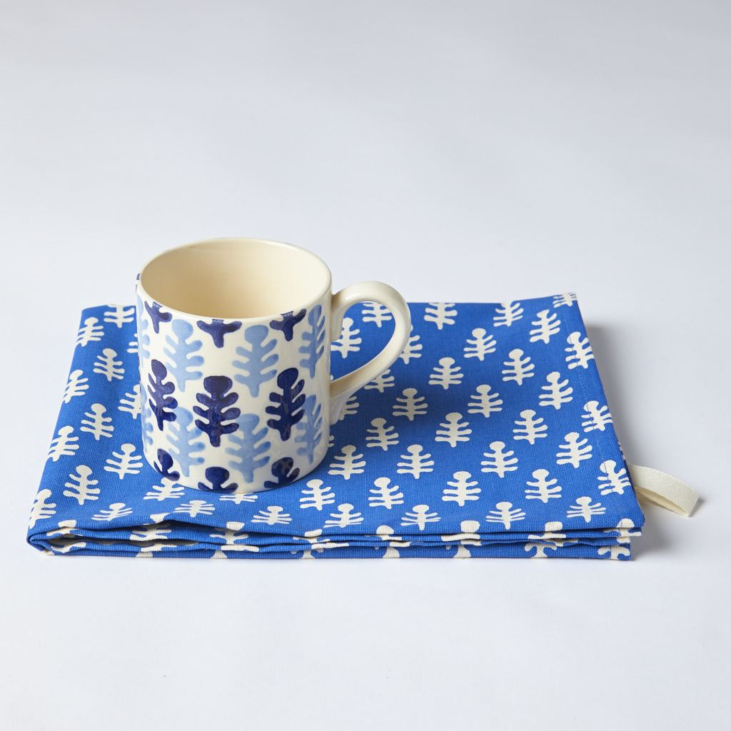 Mug and Tea Towel - Bagru - Blue