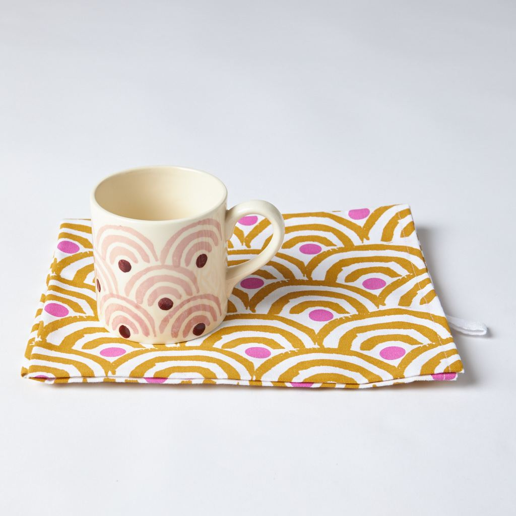 Mug + Tea Towel - Rainbow - Tan