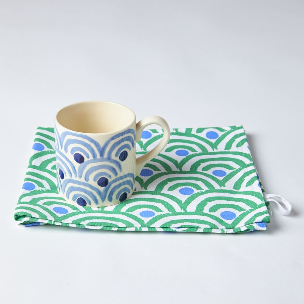 Mug + Tea Towel - Rainbow - Green