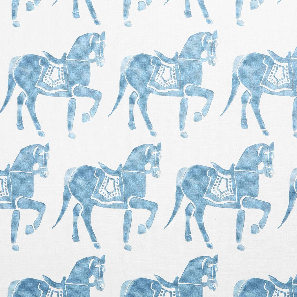 Fabric - Marwari Horse - Oyster - Blue