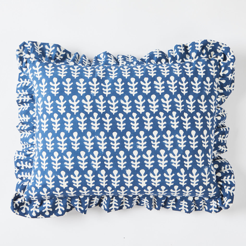 Frill Cushion - Buti - Blue - 30 x 40 cm