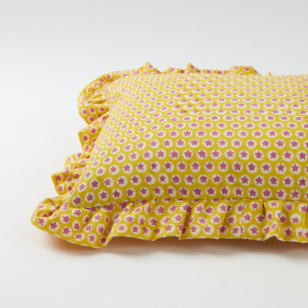 Frill Cushion - Tuk Tuk - Yellow - 30 x 40 cm