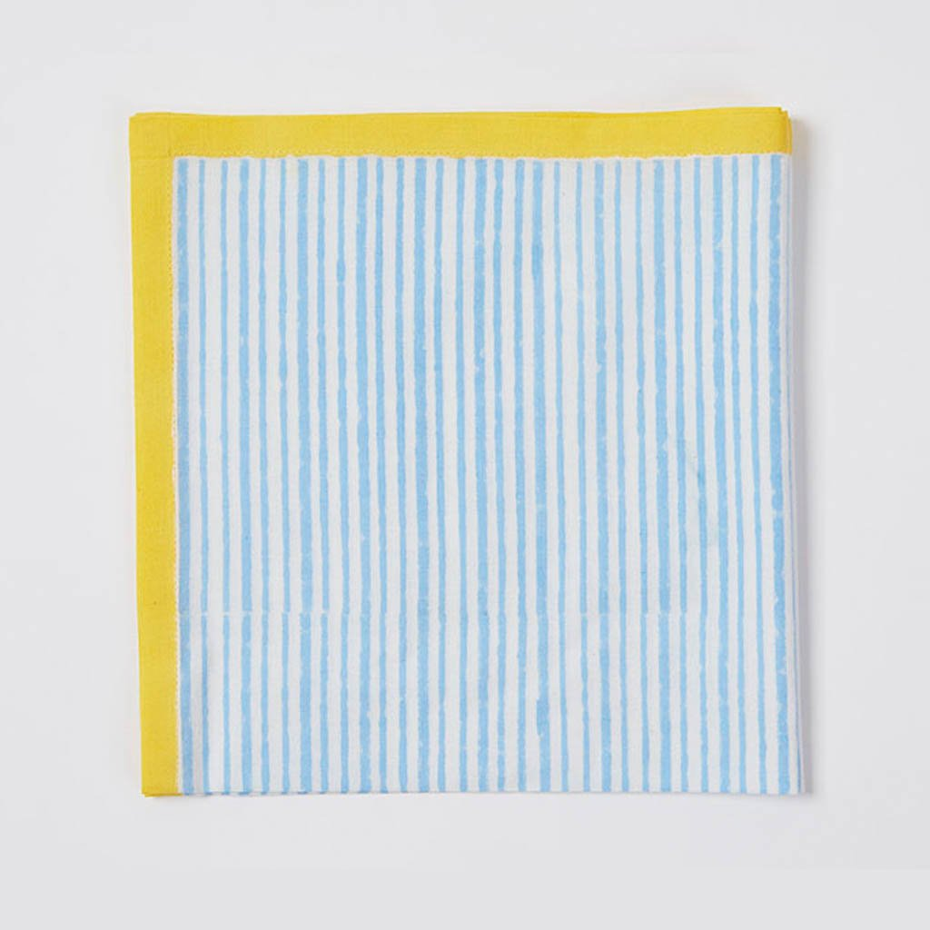 Napkin - Stripe - Blue/Yellow