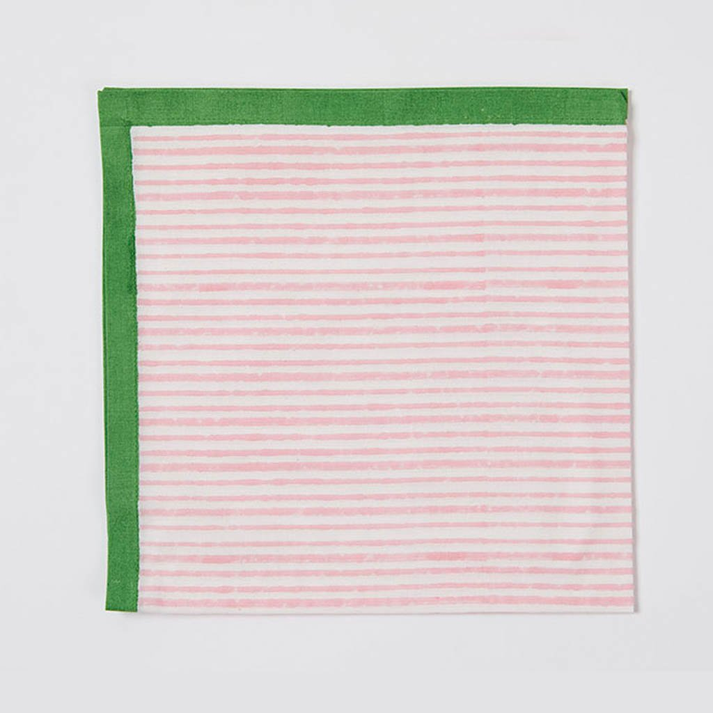 Napkin - Stripe - Pink/Green