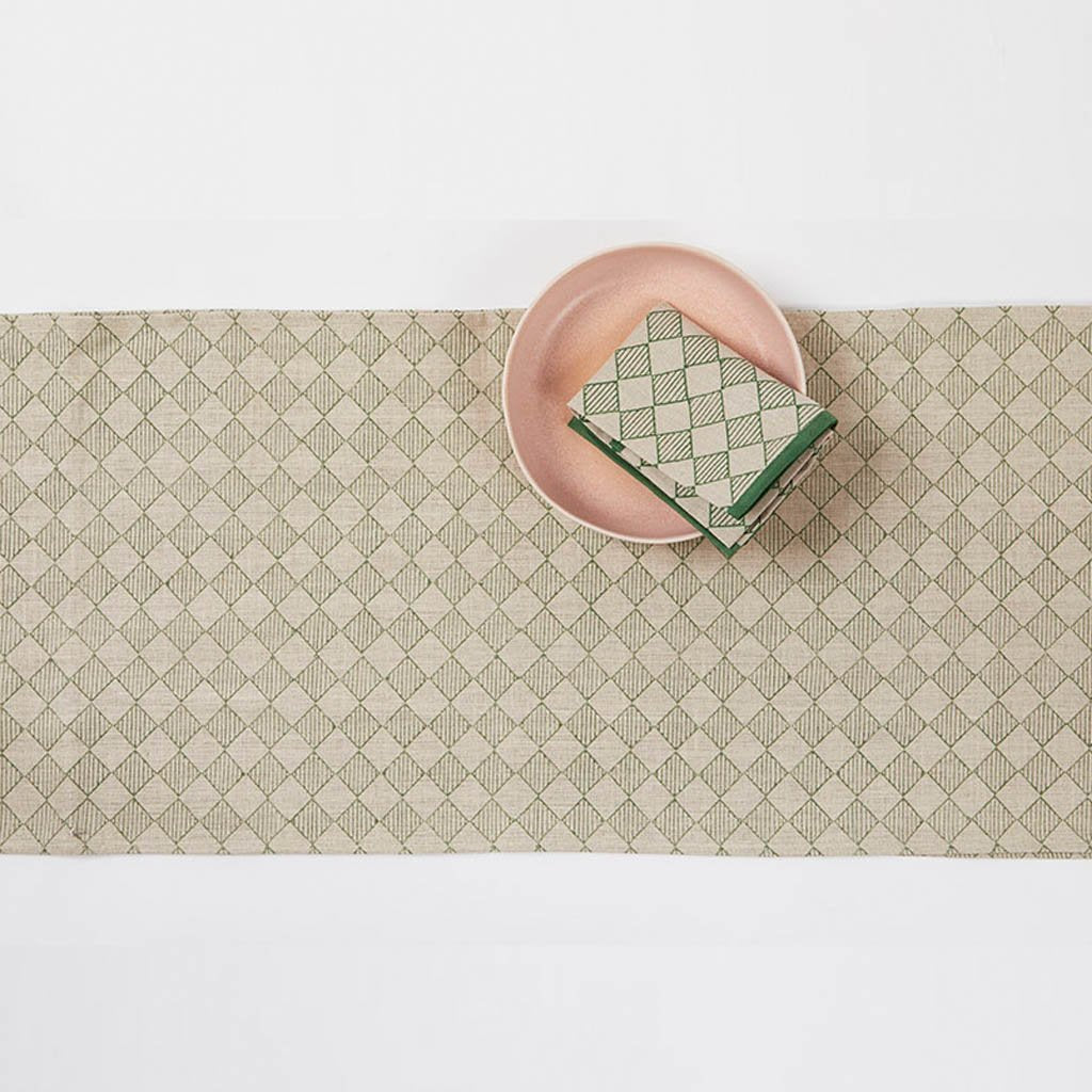 Table Runner - Chequers - Green