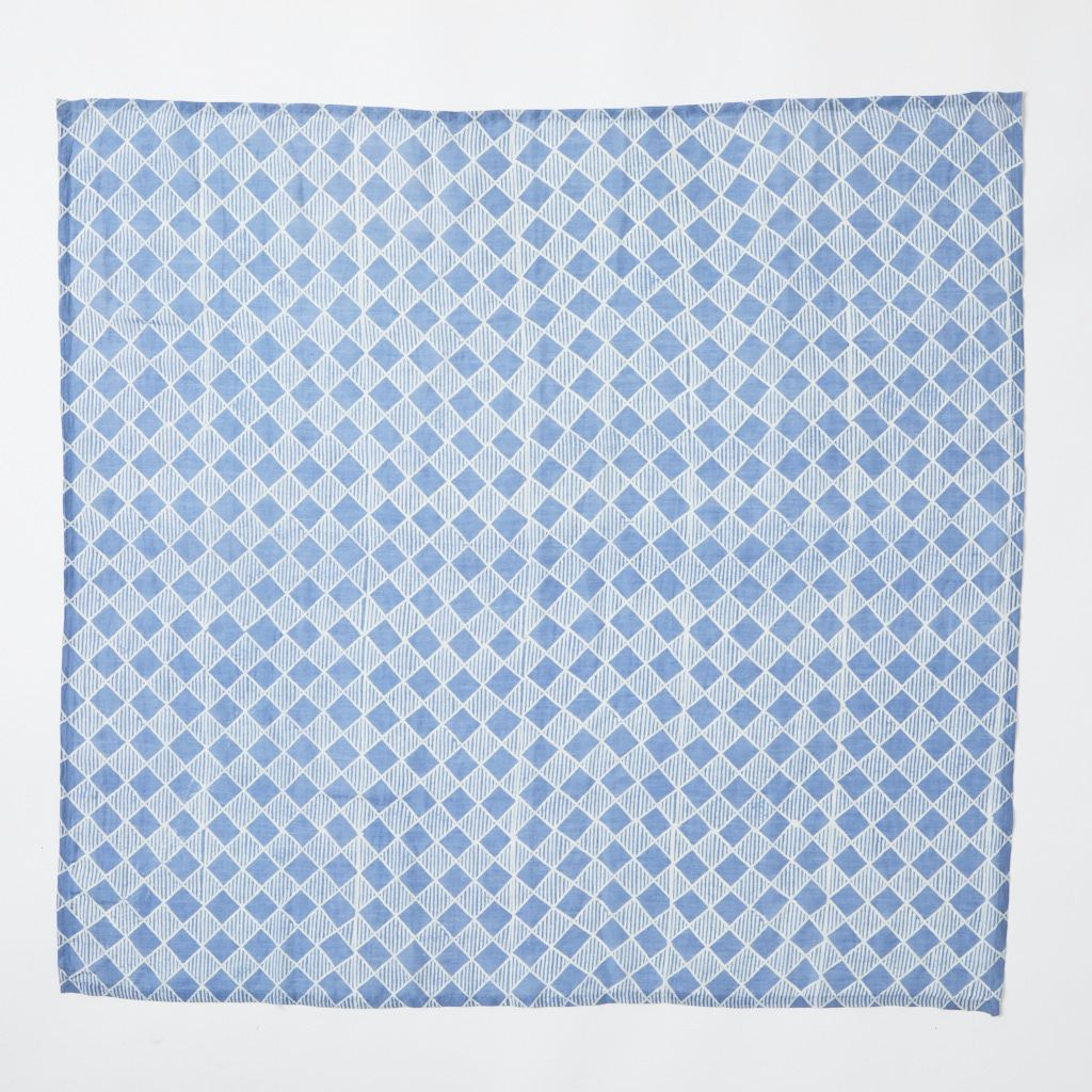 Scarf - Square - Chequers - Blue - 82 x 82 cm