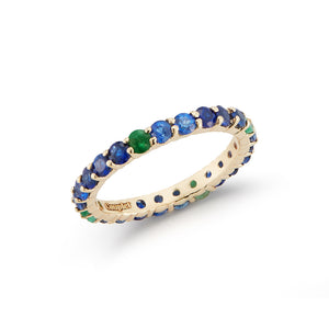 Custom Couplet Emerald and Sapphire Eternity Band