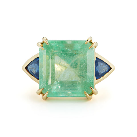 One-of-a-Kind Mint Colombian Emerald and Sapphire Ring