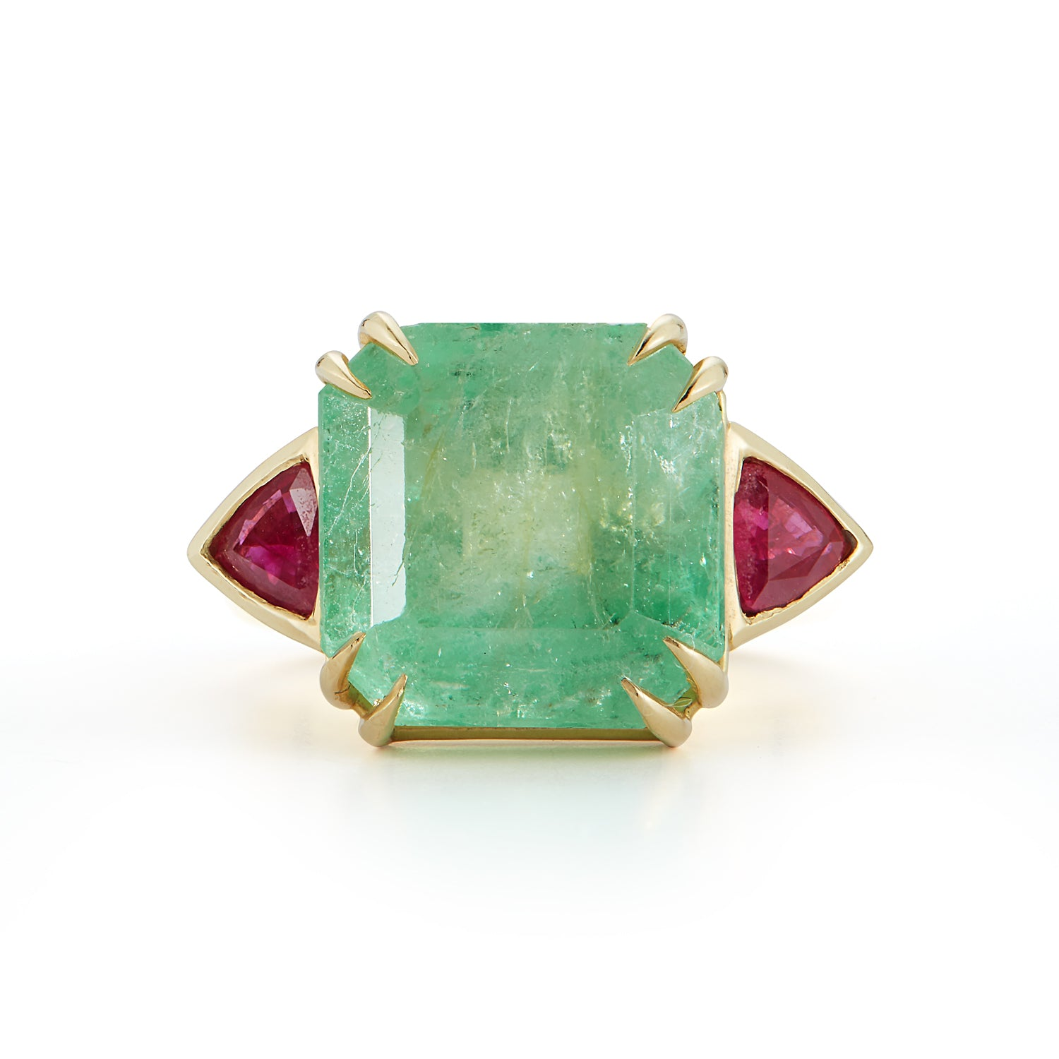 One-of-a-Kind Mint Colombian Emerald and Ruby Ring