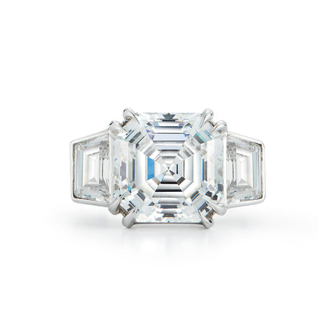 Asscher Cut Three Stone Diamond Engagement Ring
