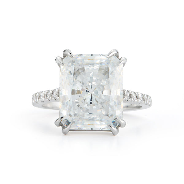 Radiant Cut Engagement Ring with Pavé Band