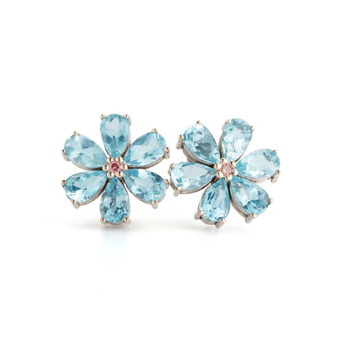 Les Fleurs Large Aqua and Pink Diamond Earrings