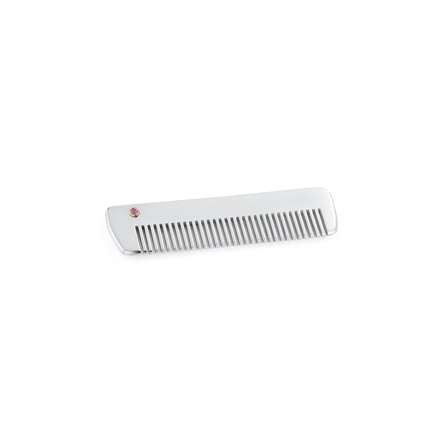 Sterling Silver Comb with Pink Sapphire