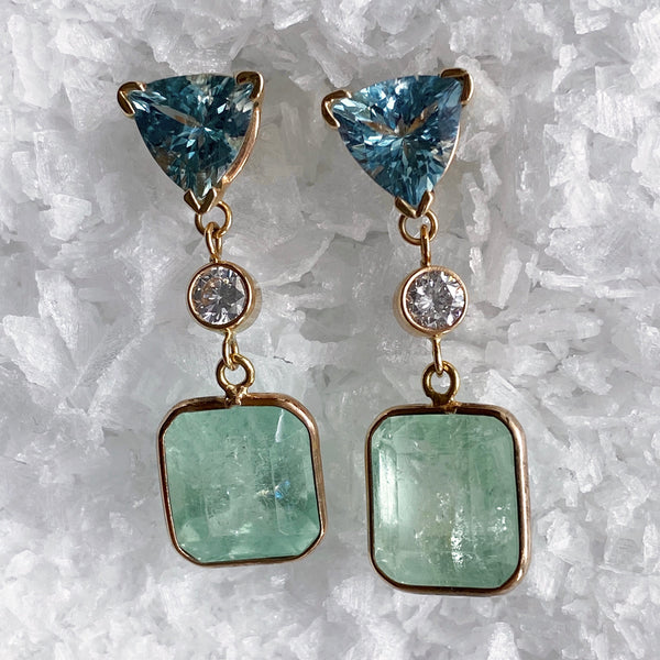 Sea Foam Emerald Diamond and Aquamarine Earrings