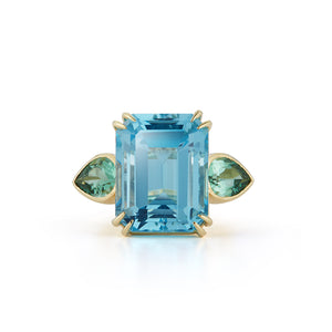 One-of-a-Kind Blue Topaz and Green Tourmaline Ring