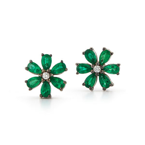 Les Fleurs Emerald and Diamond Earrings