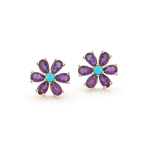 Les Fleurs Amethyst and Turquoise Earrings
