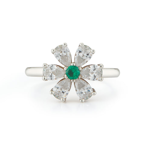 Les Fleurs Diamond and Emerald Ring