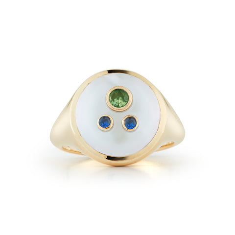 Les Perles Three Stone Signet Ring
