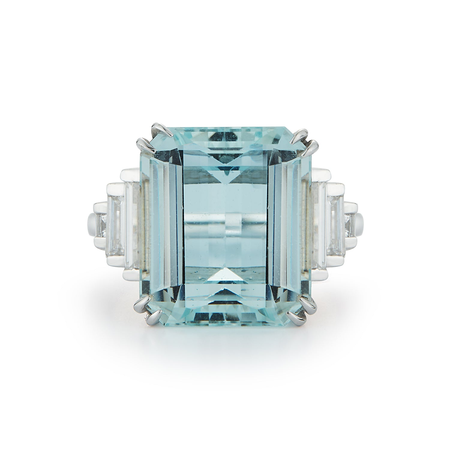 Custom Couplet Art Deco Aquamarine and Diamond Ring