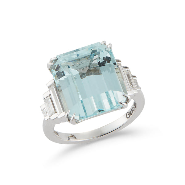 Art Deco Aquamarine and Diamond Ring