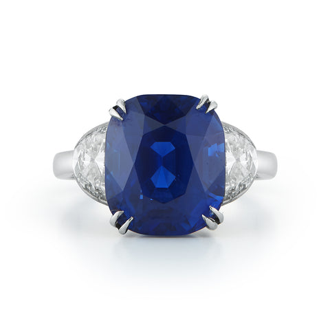Custom Couplet Sapphire & Diamond Three Stone Engagement Ring