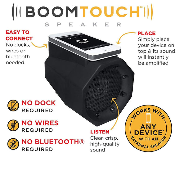 Boom Touch Wireless Portable Speaker- No Dock, No Wires, No Bluetooth Required, Amplifies Your Device's Sound - DaZzoOL