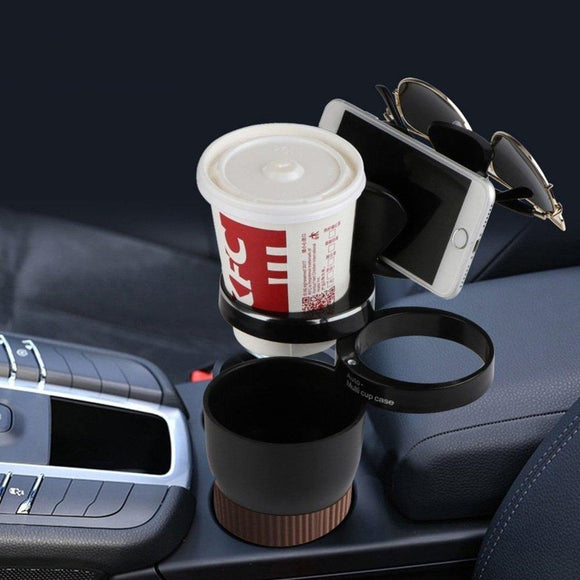 Auto Car Cup Holder 5 in 1 Multi-Functional Adjustable 2 drinks, 1 mobile phone and sunglasses holder - DaZzoOL