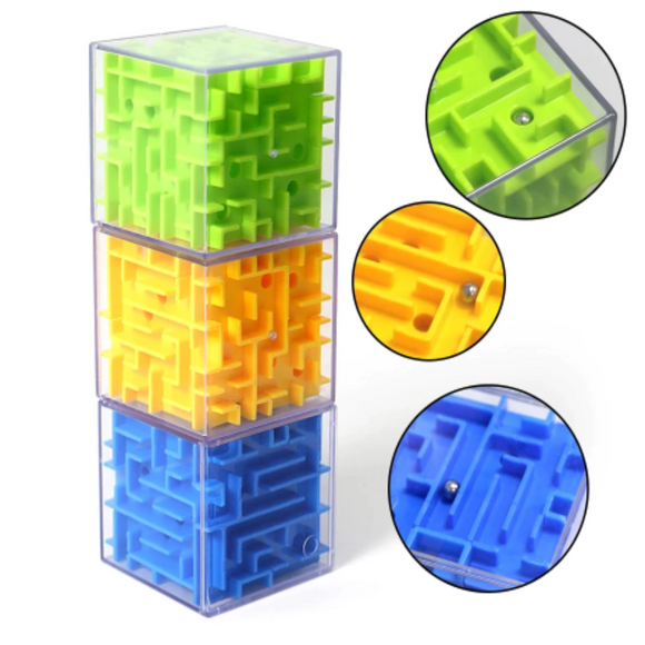 Magic Cube Maze Labyrinth Rolling Ball Balance Brain Teaser Toy