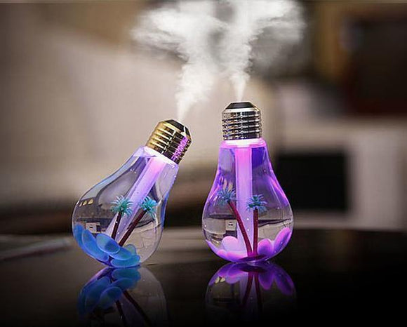 400ML Bulb Humidifier 6 Hours Use Mini Cool Mist Desktop LED 7 Color Night Lights Automatic Shut-off for Home and Office - DaZzoOL