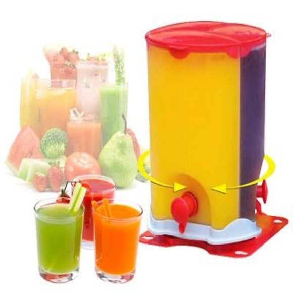 3 IN 1 Three Compartment Rotating Spin Juice Drink Dispenser - DaZzoOL
