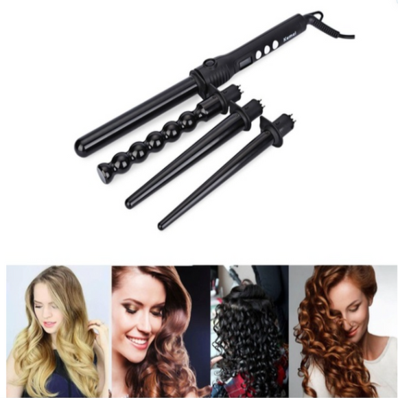 Kemei KM-4083 4 in 1 Professional Makeup Hair Curler Roller Removable Curling Iron Conical Curling Wand - DaZzoOL