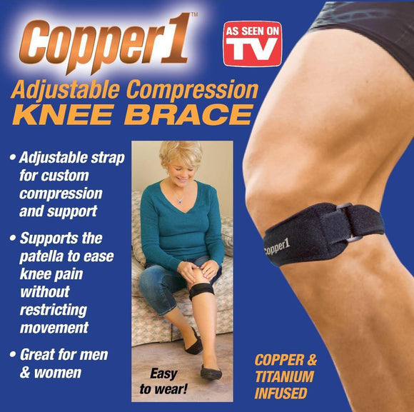 As Seen On TV Copper 1 Adjustable Compression Knee Brace - DaZzoOL