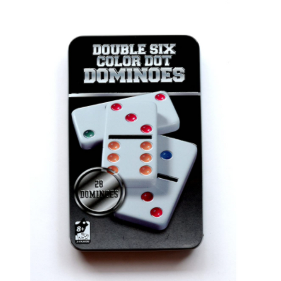 Double Six Color Dot Domino Dominoes In Metal Tin Box