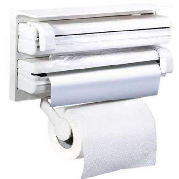 3 in 1 Kitchen Triple Paper Dispenser & Holder Paper/ 3 in 1 Wrap Center Holds Silver Foil, Plastic Wrap, and Paper Towels