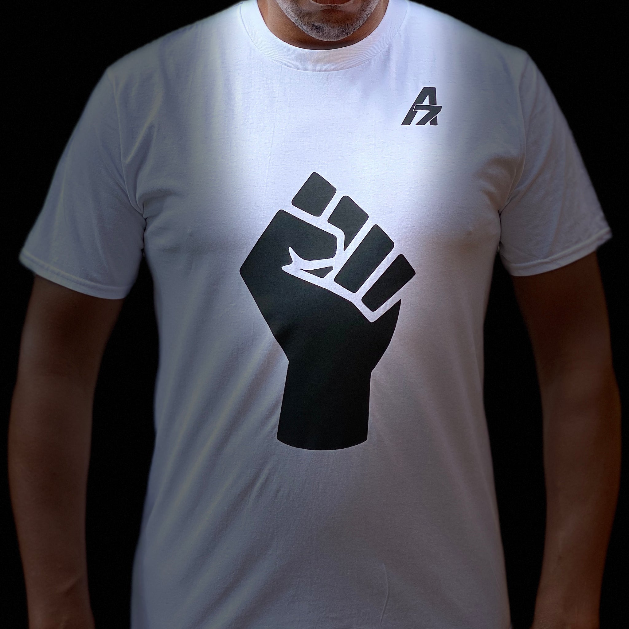 "A7Asher ""Black Lives Matter Fist "" White T-Shirt, Black A7 Logo"