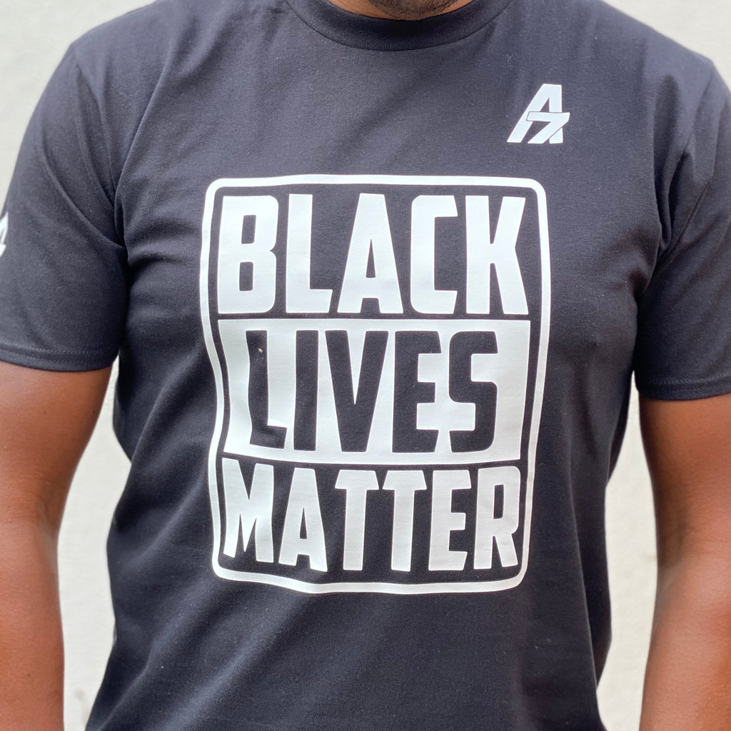 "A7Asher ""Black Lives Matter "" Black T-Shirt, White A7 Logo"